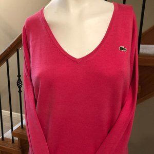 Lacoste V Neck 100% Cotton Sweater Pink Size 40